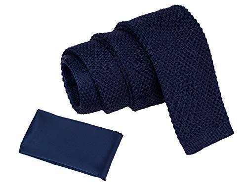 (Mens Skinny Necktie Blue Navy Knitted Slim Tie and Pockets Square Set Handmade Gift set (navy))