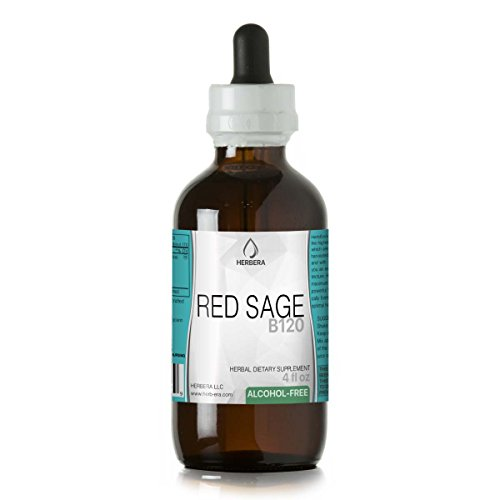 (Red Sage B120 Alcohol-Free Herbal Extract Tincture, Super-Concentrated Organic Red Sage (Salvia Miltiorrhiza) 4 fl)