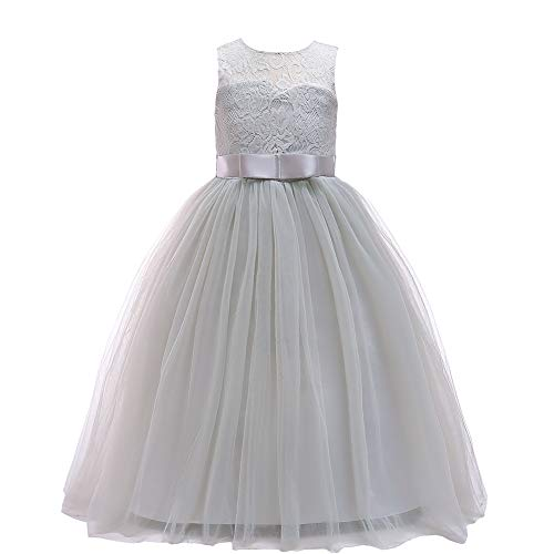 Glamulice Girls Lace Bridesmaid Dress Long A Line Wedding Pageant Dresses Tulle Party Gown Age 3-16Y (7-8Y, Gray) ()