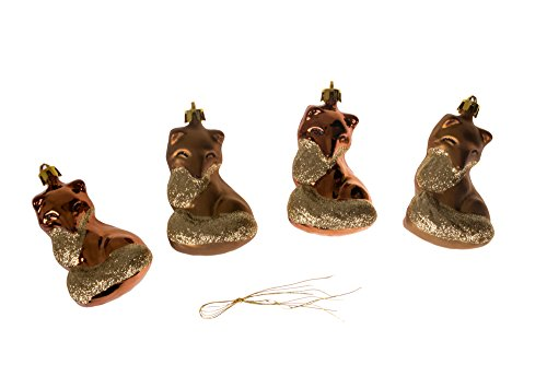 - Clever Creations Christmas Fox Ornament Set Beautiful Gold and Copper Pattern | 4 Pack | Festive Holiday Décor | Classic Design | Light Weight Shatter Resistant | Hangers Included | 60mm
