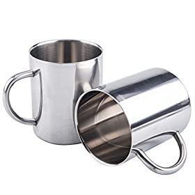 Bekith Kids Water Mugs Stainless Steel Drinking Cups Double Wall Food Grade Durable Safe – Set of 2