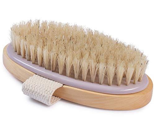MainBasics Natural Bristle Dry Brush Exfoliating Body Brush for Dry Skin, Cellulite and Lymphatic Drainage
