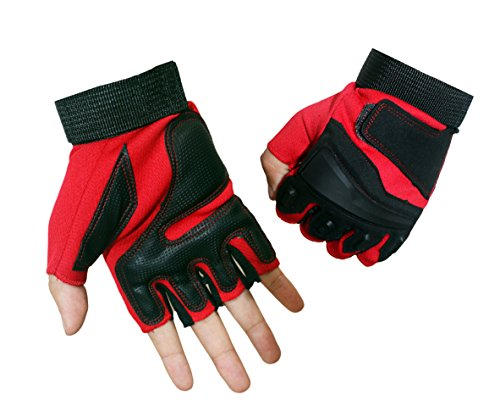 Campstoor Tactical Half Finger Gloves For Cycling Motorcycle Workout Hiking Camping Powersports Airsoft Paintball (Red, Medium)