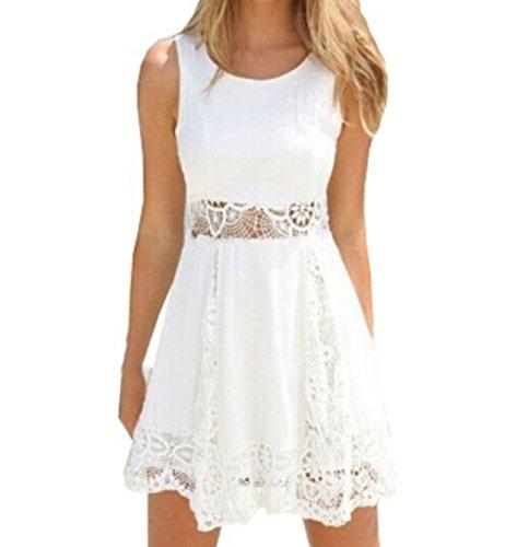 Damen Minikleid A-Linie Einfarbig Sommerkleid Strandkleid Rundhals Ausschnitt Ärmelloses Chiffon Spitze Stitching eng Taille Rock Frauen Partykleid Weiß