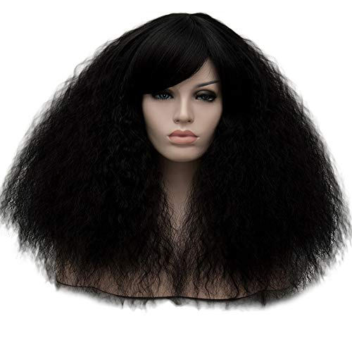 TopWigy Women Black Cosplay Wigs Halloween Costume Party Wigs Synthetic Heat Resistant Fluffy Hair with Fringe