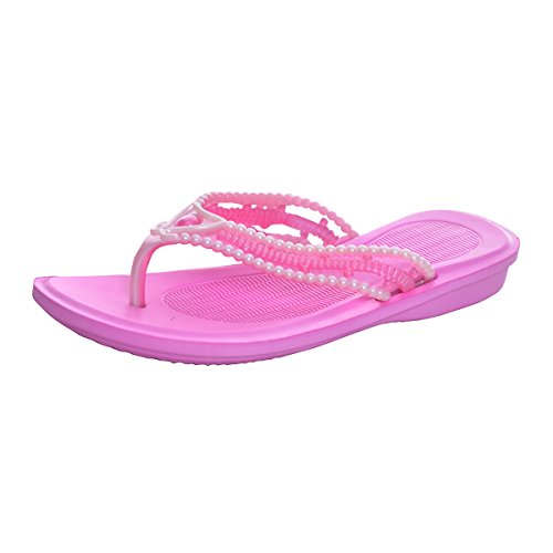VFDB Women's Casual Flip Flops Beach Slip 0n Thong Sandals PVC Candy Colors Flats Shoes