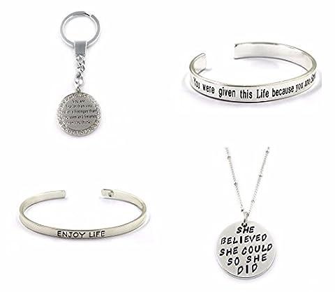 4x Bangle Bracelet Necklace Keychain Family Love