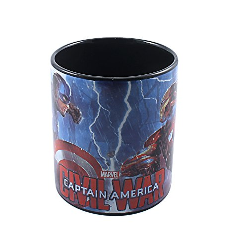 [Marvel Civil War Captain America vs. Iron Man Lightning Fight Ceramic Mug, 14 oz, Multicolored] (Iconic Movie Characters Costumes)