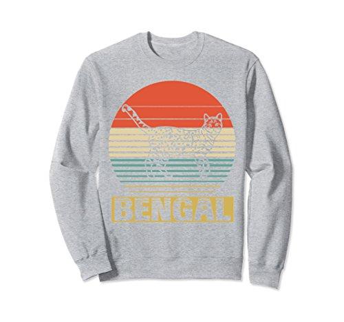 Unisex Vintage Sweatshirt For Bengal Cat Lover. Funny Birthday Gift XL: Heather Grey