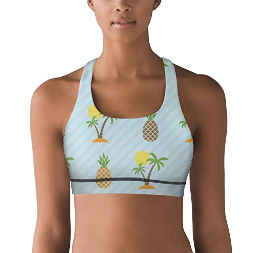 (Milr Gile Women's Island and Pineapple Pattern Workout Yoga Bra Removable Padded High Impact Sports Racerback Bras)