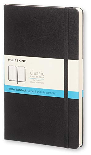 "Moleskine Classic Notebook, Hard Cover, Large (5"" x 8.25"") Dotted, Black, 240 Pages"