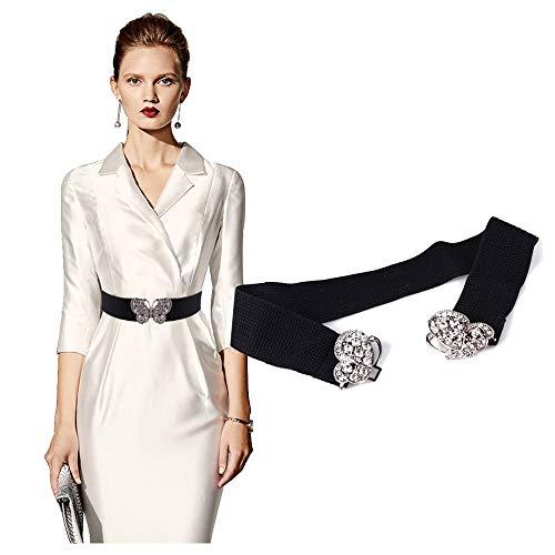 VITORIA'S GIFT Fashion Women Belt Solid Round Shape Buckle Waist Belt Casual Leather Belts for Women Strap Brand Classic Belt (Rhinestone butterfly-black)