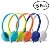 Wholesale Bulk Headphones Earphones Earbuds - Kaysent(KHP-5Mixed) 5 Packs Mixed Colors(Each 1 Pack) Stereo Headphone for School, Classroom, Airplane, Hospiital, Students,Kids and Adults