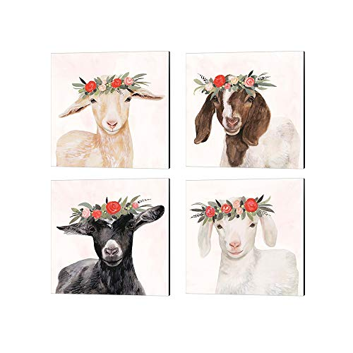 Garden Goat by Victoria Borges, 4 Piece Canvas Art Set, 14 X 14 Inches Each, Animal Art