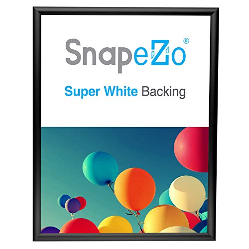 SnapeZo Photo Frame 16x20 Inches, Black 1 Inch Aluminum Profile, Front-Loading Snap Frame, Wall Mounting, Sleek Series