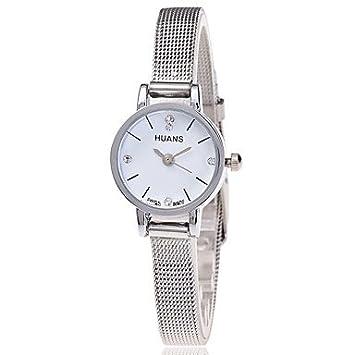XKC-watches Relojes de Mujer, Malla de Plata Reloj de Pulsera de Las Mujeres Relojes de Cuarzo Casual Regalo Relogio Feminino (Color : Blanco): Amazon.es: ...