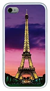 iPhone 4S Case, Eiffel Tower At Night Paris France TPU Custom iPhone 5/5s Case Cover Whtie