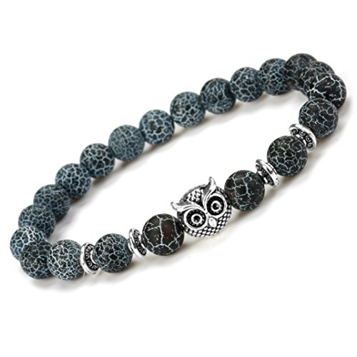 Mens Womens Bracelet - Natural Wind Turquoise Agate Beads (Natural Wind Agate (Owl Beads Bracelet)