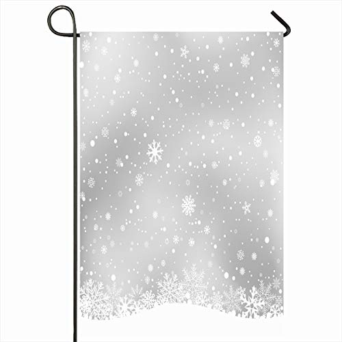 - Ahawoso Outdoor Garden Flag 12x18 Inches Cristal Big Snowflake White Snow On Light Gray Empty Holidays Winter Snowfall Wintery Abstract Celebration Design Seasonal Double Sides House Yard Sign