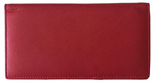 Red RFID Leather Checkbook Cover With Credit Card Slots and Pen Holder