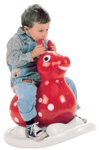 Gymnic 80.01 Inflatable Rocking Rody Rider with Base, Red/Yellow