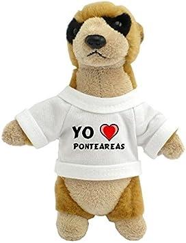 Suricata personalizada de peluche (juguete) con Amo Ponteareas en la camiseta (ciudad / asentamiento)