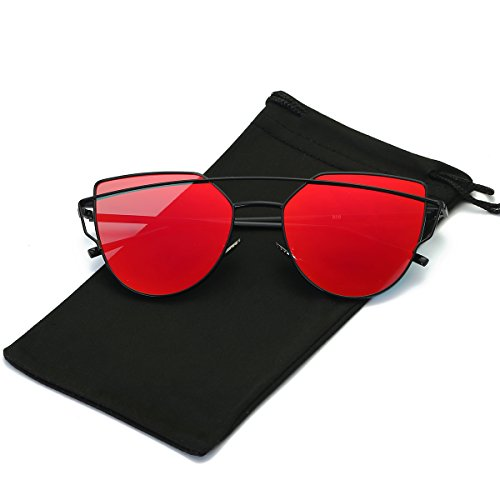 LKEYE -Cat Eye Sunglasses Coating Mirrored lens Metal Frame LK1701C4 Black Frame/Red - Red Sunglass