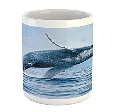 Lunarable Underwater Mug, A Breaching Massive Humpback Whale Big Fish Dangerous Animal Predator Surface, Printed Ceramic Coffee Mug Water Tea Drinks Cup, Blue White