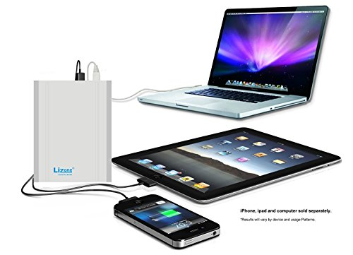 Lizone Extra Pro USB Power Bank Aluminum UniBody for Laptop and Smartphones - 40000mAh Silver