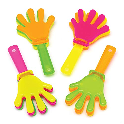 Baker Ross Mini Hand Clappers (Pack of 8) Plastic Noisemakers Perfect for Kids Goodie Bags, Halloween Party Favors, Pinata Filler or Birthday Presents -