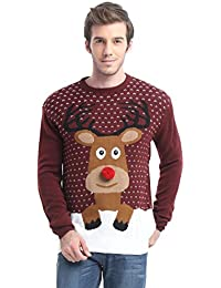 Daisysboutique Men's Holiday Reindeer Snowman Santa Snowflakes Sweater