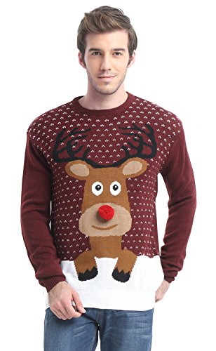 - Daisysboutique Men's Holiday Reindeer Snowman Santa Snowflakes Sweater (Large, Reindeer)
