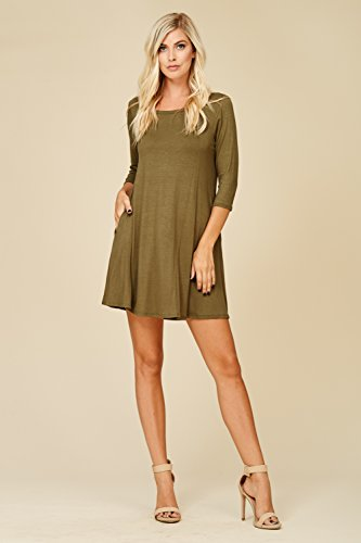 Dress Annabelle Scoop Neck 3 Comfy Swing Sleeve Pockets Olive 4 Women's with CqwB1