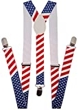 Navisima Adjustable Elastic Y Back Style Suspenders for Menand Women With Strong Metal Clips, American Flag (1 Pack)