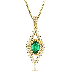 Yellow Gold With Colombia Emerald Diamond Pendant