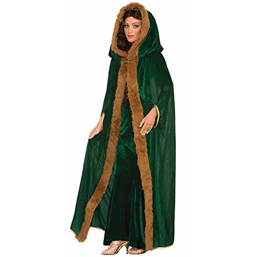 Forum Novelties Women's Medieval Fantasy Faux Fur Trimmed Cape, Green, One (Queen Of Thrones Adult Costumes)