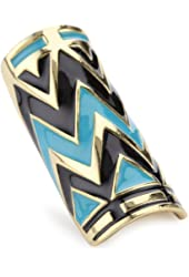 House of Harlow 1960 14k Yellow Gold-Plated Turquoise-Color Enameled Ring, Size 7