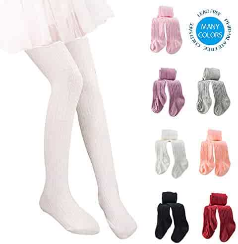 144e7c3d66047 Techcity Girls Tights Toddler Seamless Leggings Pantyhose Cotton Cable Knit Pants  Stockings for Girls 2-