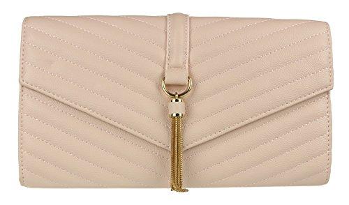 Girly HandBags Quilted Tassel Clutch Bag Beige