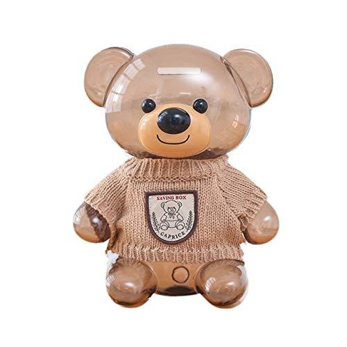 ZAMTAC Cartoon Bear Shaped Plastic Piggy Bank with Clothes Innovative Birthday Gift 4 Colors Coin Saving Pot Desktop Decoration - (Color: B)