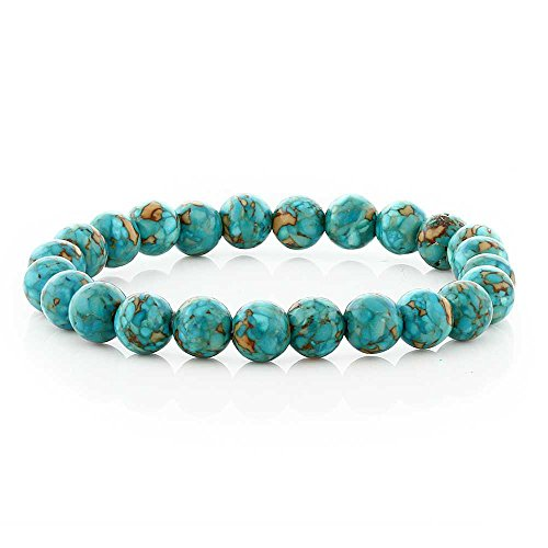 Green Beads Turquoise Bracelet (Gem Stone King Stunning Round 8MM Blue Green Simulated Turquoise Round Stretchy Bracelet)