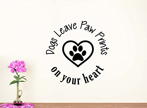 Wall Decal Dogs leave paw prints on your heart love vinyl wall saying lettering quote inspirational sign motivational room decor