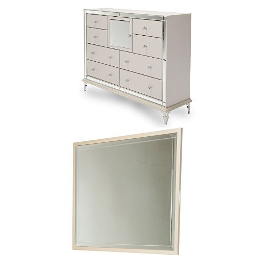Michael Amini Hollywood Loft Upholstered Dresser with Rectangular Dresser Mirror, Pearl