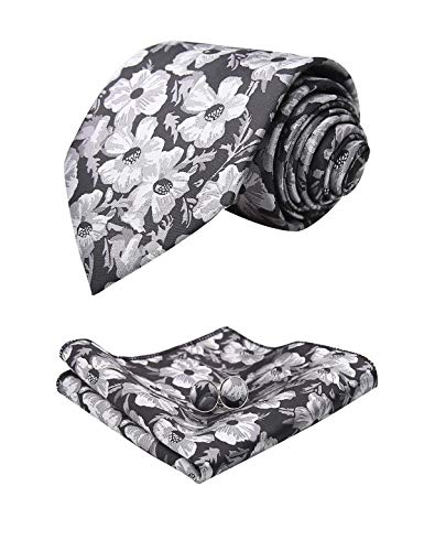 - Alizeal Mens Floral Pattern Tie, Hanky and Cufflinks Set, Black+White