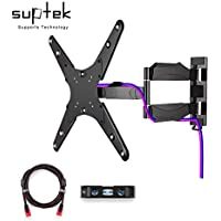 Suptek TV Wall Mount Bracket With Full Motion Swivel Articulating For Most 23-55 LED LCD Plasma Flat Screen Up To 66lbs VESA400x400 HDMI Cable (MA4263)