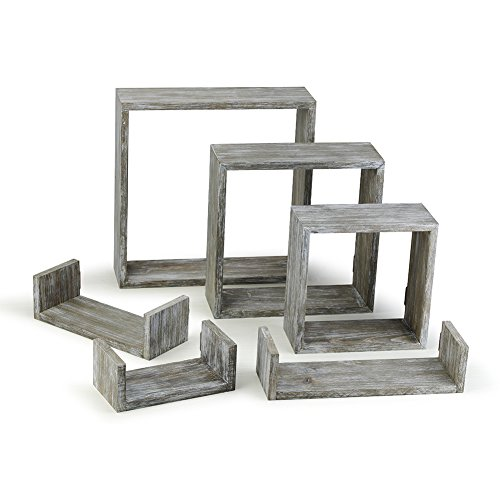 Round Rich Floating Shelves Set of 6 Rustic Wood Wall Shelves with 3 Square Boxes and 3 Small U Shelves for Free Grouping Grey by Round Rich (Image #1)