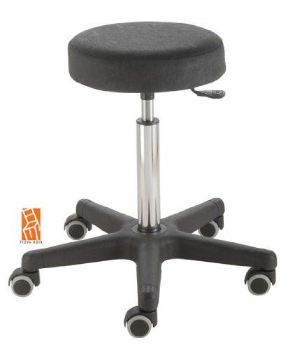 Arbeitshocker, Arzthocker, Drehhocker, Rollhocker Modell comfort, Hubbereich ca. 54 -73 cm, Rollen mit weicher Radbandage, Sitzfarbe schwarz