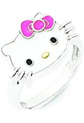 Sterling Silver Hello Kitty Enameled Pink Bow Collection Ring - Size 8