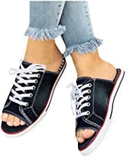 Xinantime Womens Classic Fish Mouth Denim Lace-up Canvas Shoes Hipster Walk Sports Comfy Flat Open Toe Breatha