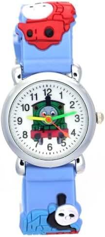 TimerMall Thomas Kids 3D Cartoon Blue Rubber Strap Water Resistant Analog Quartz Watches
